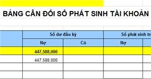 Bảng cân đối tài khoản theo Thông tư 133