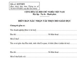 Mẫu 03/TNDN – Biên bản xác nhận tài trợ cho giáo dục