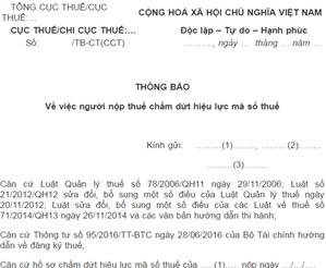 Bảng kê mẫu số 18/TB-ĐKT (ban hành kèm TT95/2016/TT-BTC)